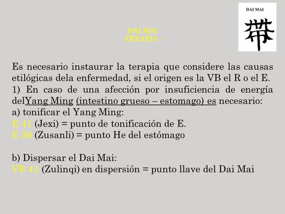 a) tonificar el Yang Ming: E 41 (Jexi) = punto de tonificación de E.