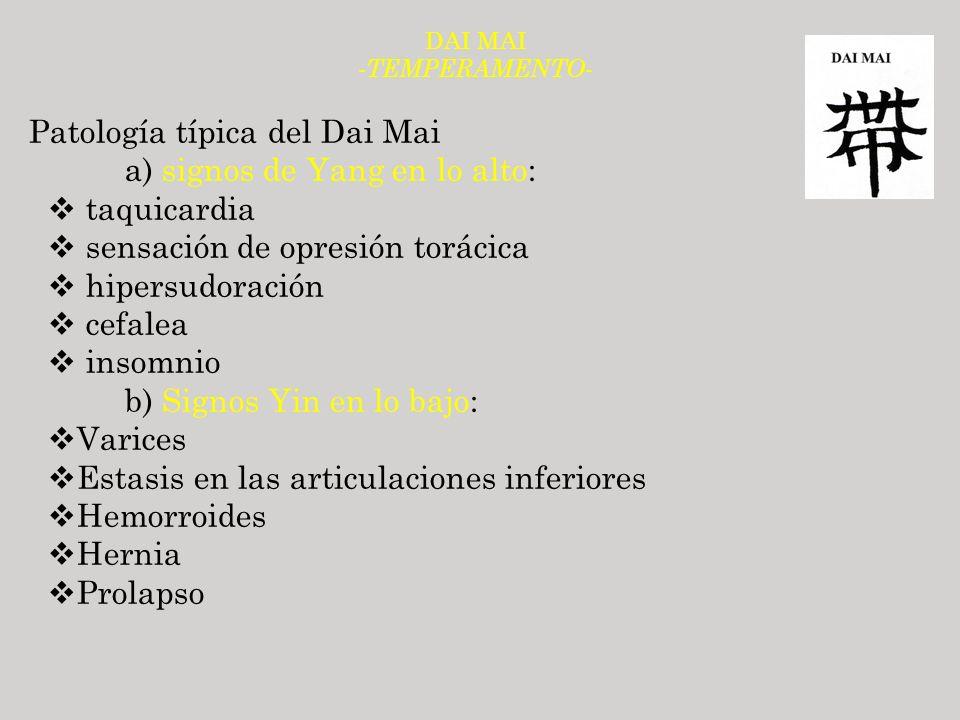 Patología típica del Dai Mai a) signos de Yang en lo alto: taquicardia