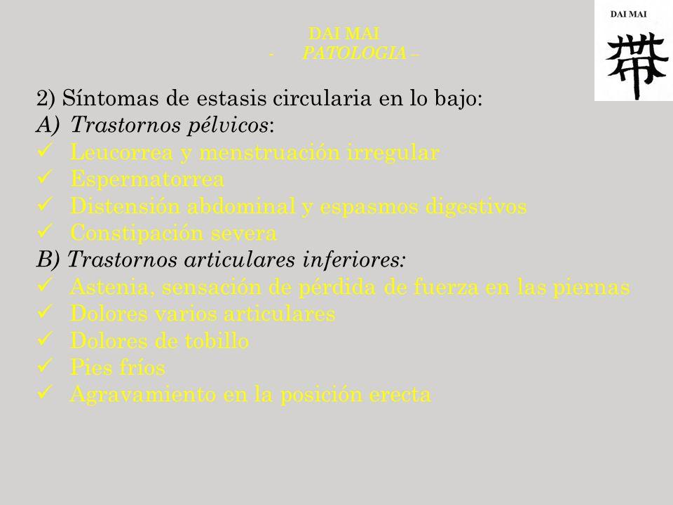 2) Síntomas de estasis circularia en lo bajo: Trastornos pélvicos: