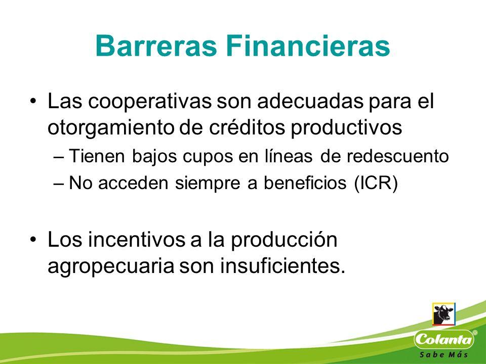 Barreras Financieras Las cooperativas son adecuadas para el otorgamiento de créditos productivos. Tienen bajos cupos en líneas de redescuento.