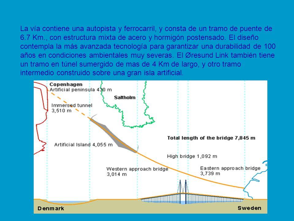 La vía contiene una autopista y ferrocarril, y consta de un tramo de puente de 6.7 Km., con estructura mixta de acero y hormigón postensado.