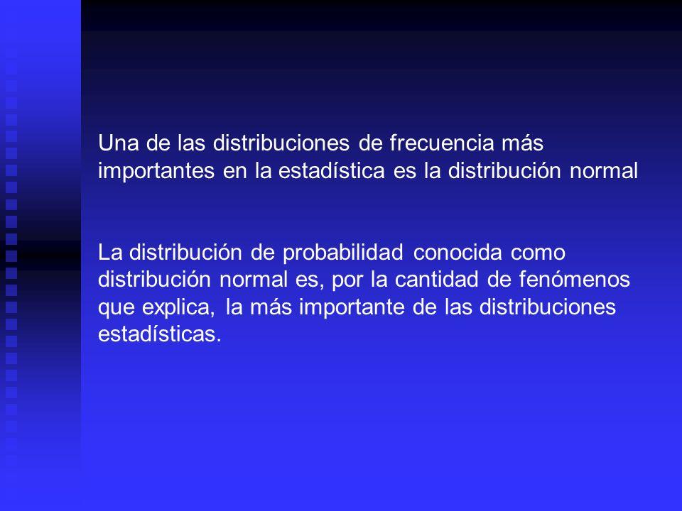 Una de las distribuciones de frecuencia más importantes en la estadística es la distribución normal