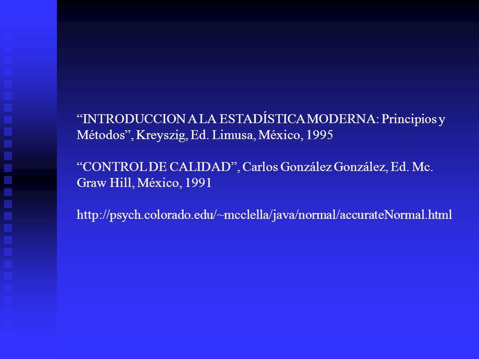 INTRODUCCION A LA ESTADÍSTICA MODERNA: Principios y Métodos , Kreyszig, Ed. Limusa, México, 1995