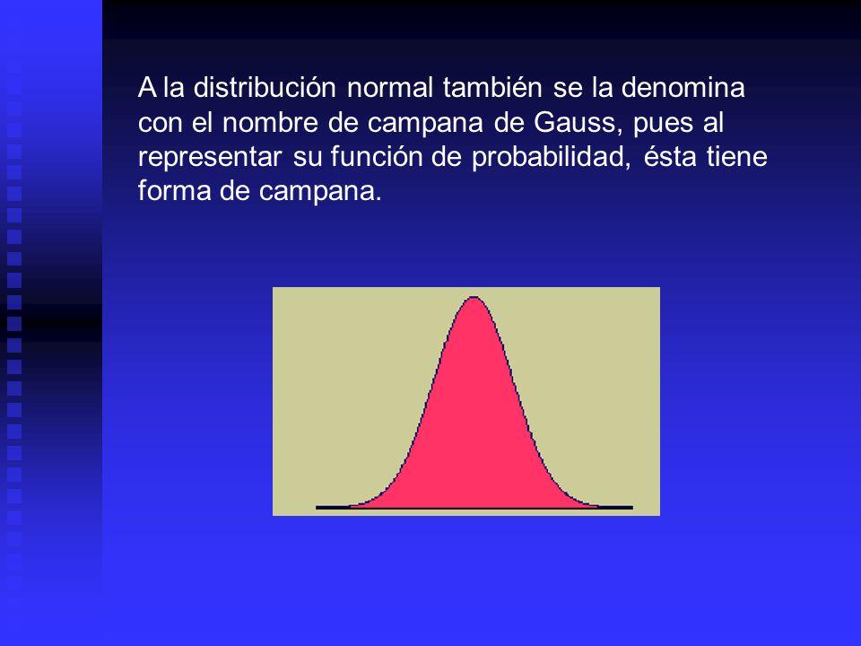 A la distribución normal también se la denomina con el nombre de campana de Gauss, pues al representar su función de probabilidad, ésta tiene forma de campana.