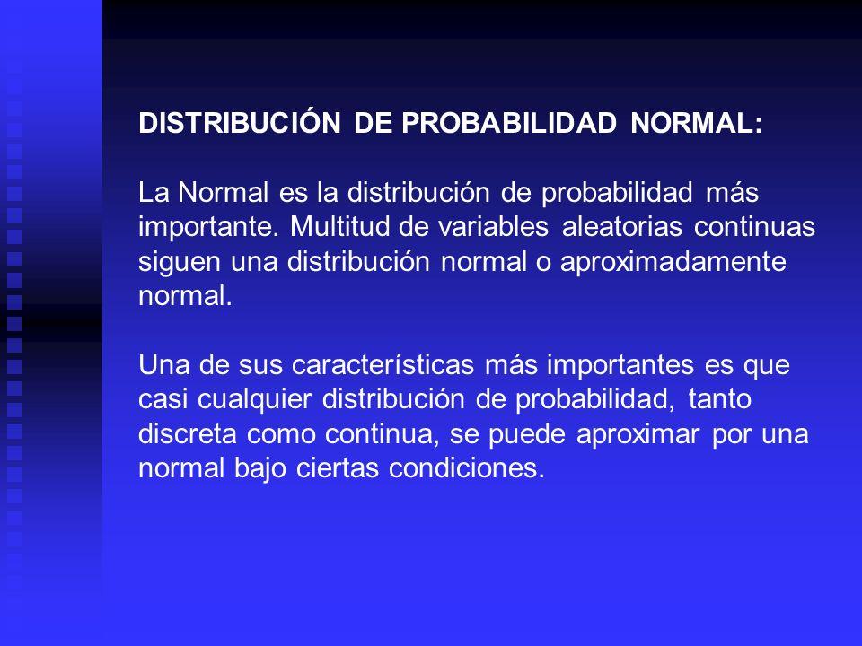 DISTRIBUCIÓN DE PROBABILIDAD NORMAL: