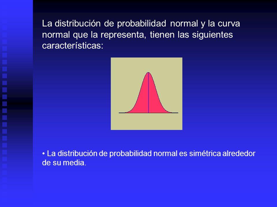 La distribución de probabilidad normal y la curva normal que la representa, tienen las siguientes características:
