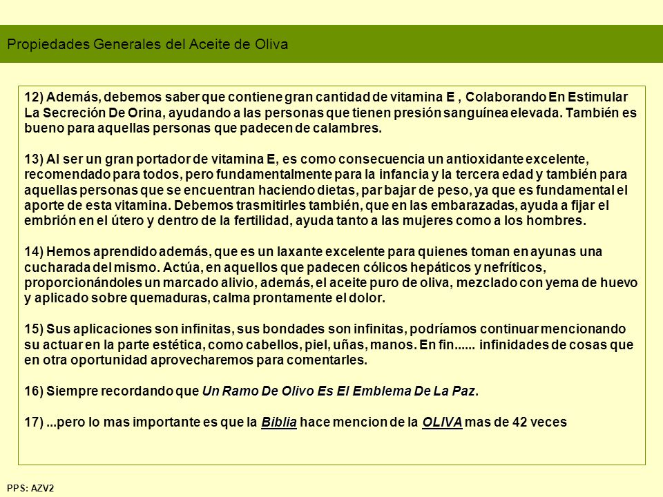 Propiedades Generales del Aceite de Oliva