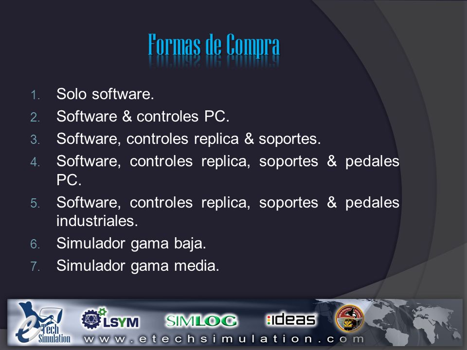 Formas de Compra Solo software. Software & controles PC.