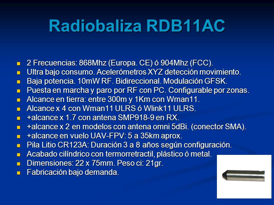 Radiobaliza RDB11AC 2 Frecuencias: 868Mhz (Europa. CE) ó 904Mhz (FCC).