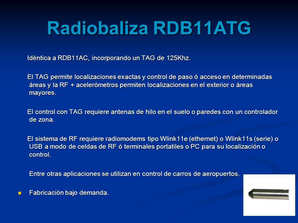 Radiobaliza RDB11ATG Idéntica a RDB11AC, incorporando un TAG de 125Khz.