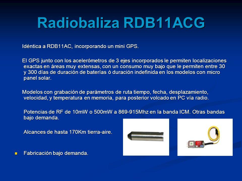 Radiobaliza RDB11ACG Idéntica a RDB11AC, incorporando un mini GPS.