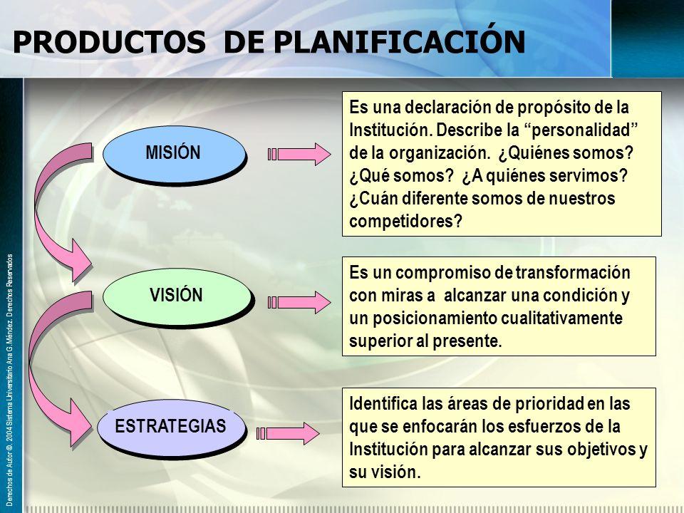 PRODUCTOS DE PLANIFICACIÓN
