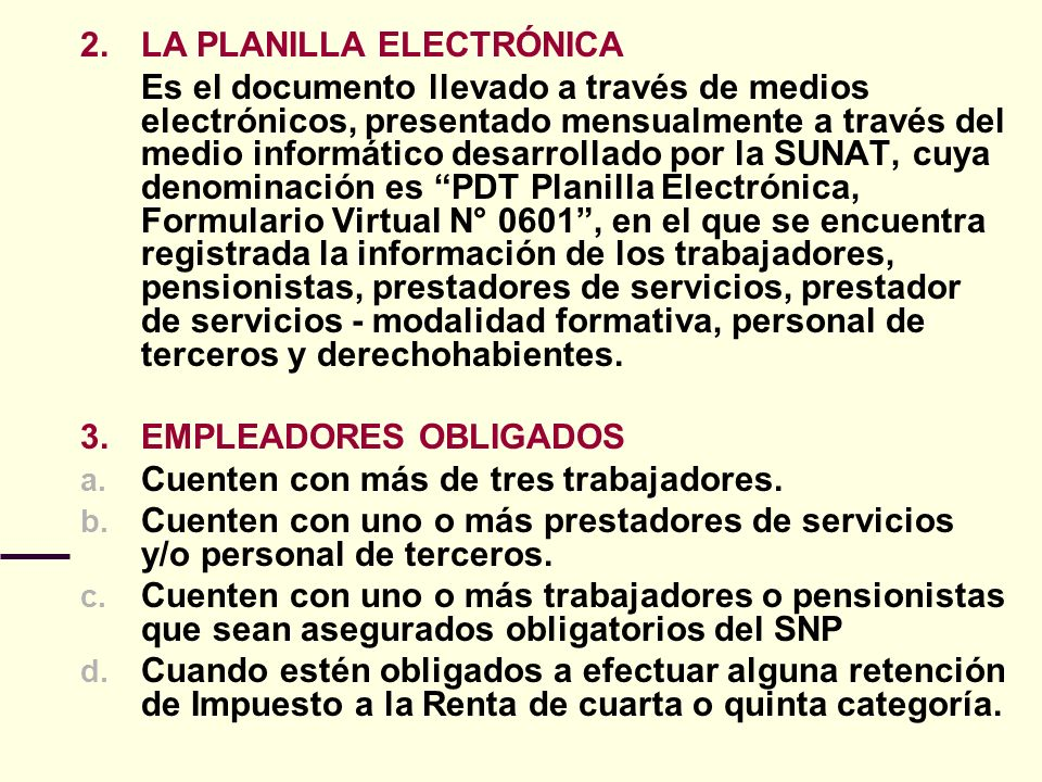 2. LA PLANILLA ELECTRÓNICA