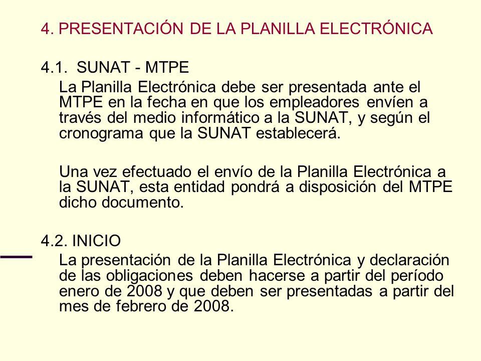 4. PRESENTACIÓN DE LA PLANILLA ELECTRÓNICA