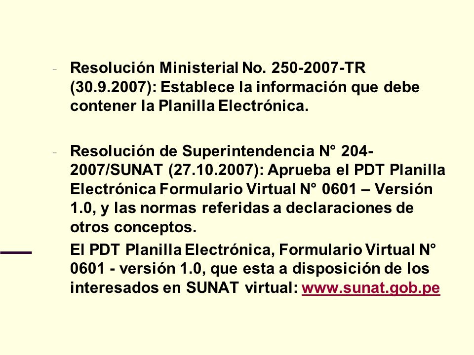 Resolución Ministerial No. 250-2007-TR (30. 9