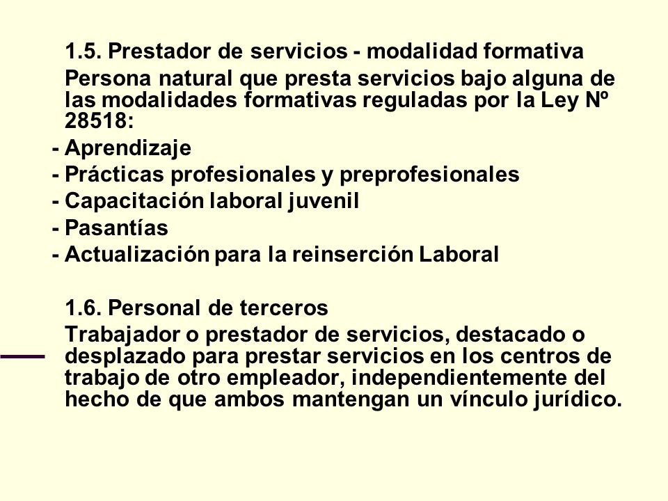 1.5. Prestador de servicios - modalidad formativa