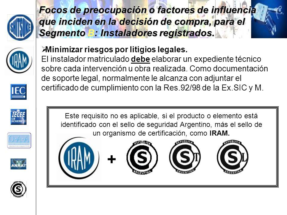 Focos de preocupación o factores de influencia que inciden en la decisión de compra, para el Segmento B: Instaladores registrados.