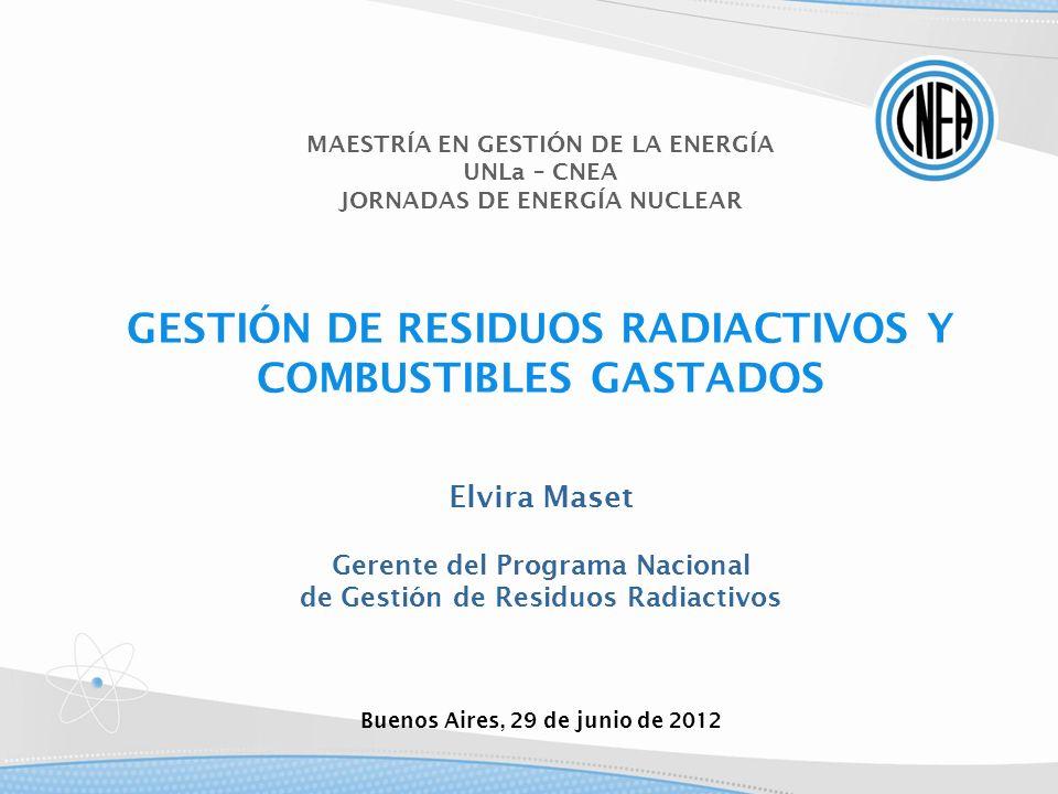 GESTIÓN DE RESIDUOS RADIACTIVOS Y COMBUSTIBLES GASTADOS