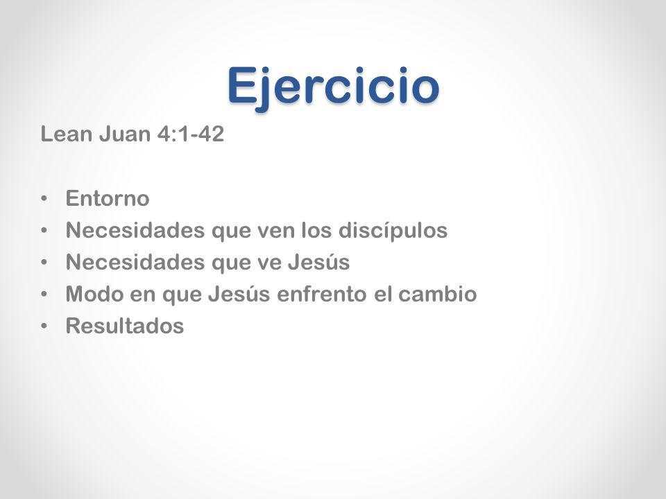 Ejercicio Lean Juan 4:1-42 Entorno Necesidades que ven los discípulos