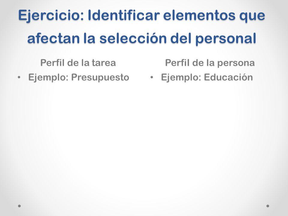 Ejercicio: Identificar elementos que afectan la selección del personal
