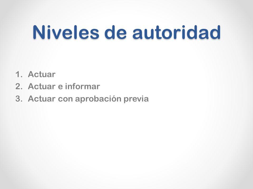Niveles de autoridad Actuar Actuar e informar