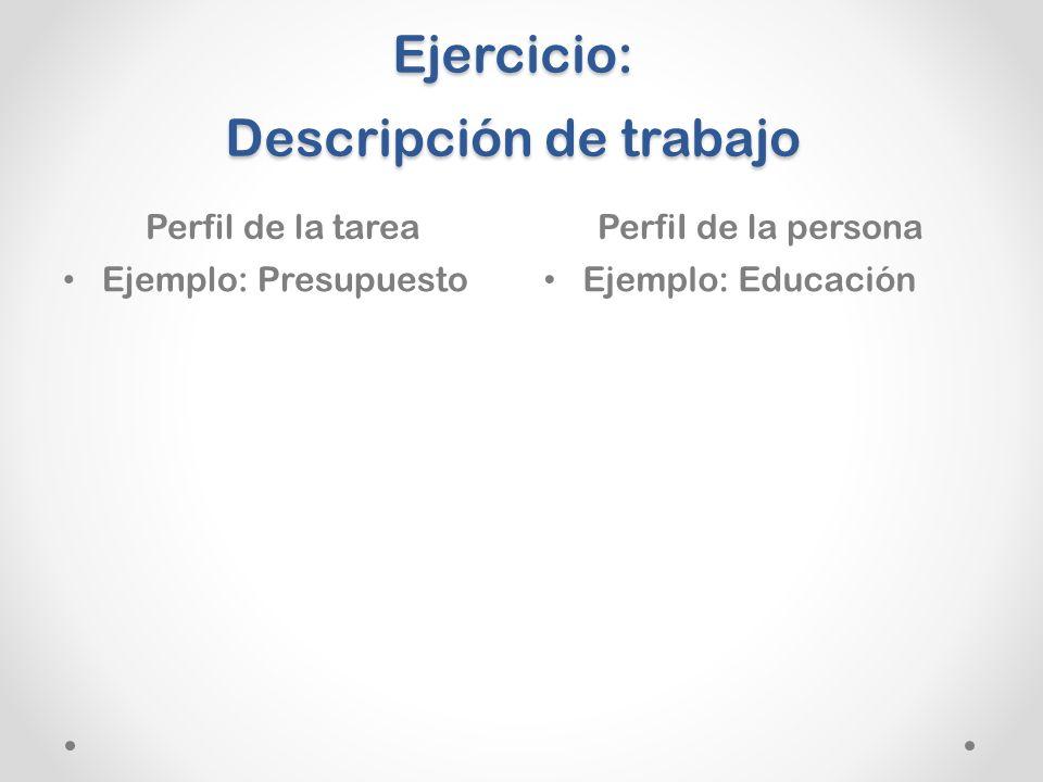 Ejercicio: Descripción de trabajo