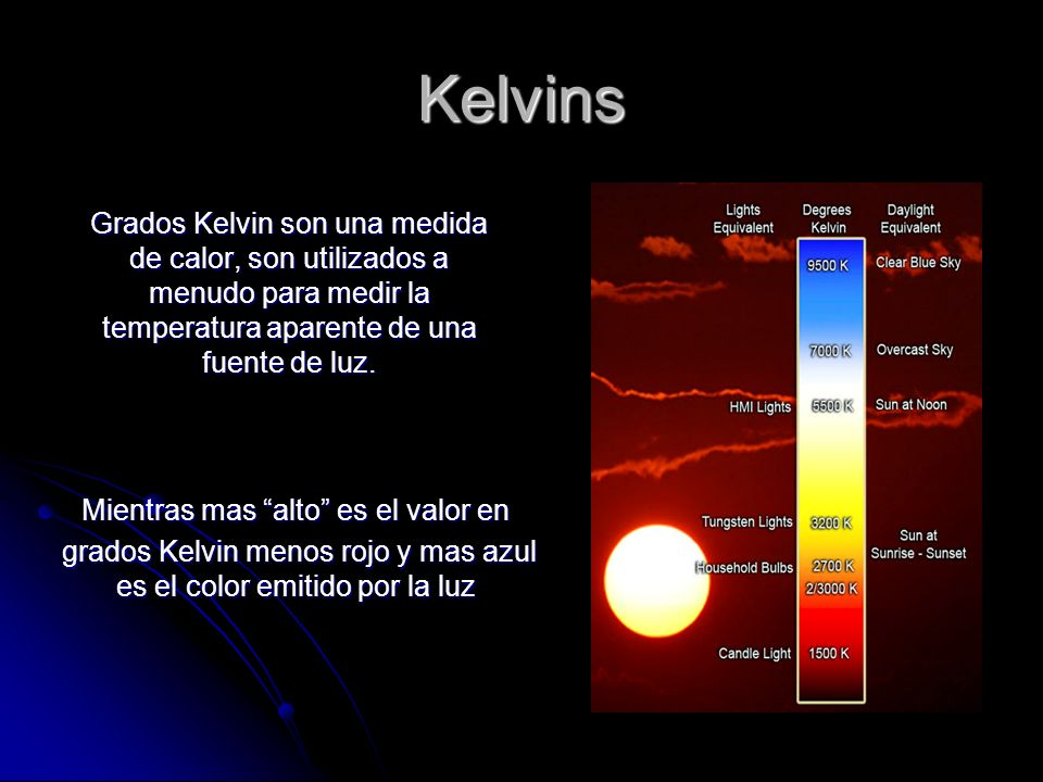 Kelvins Mientras mas alto es el valor en