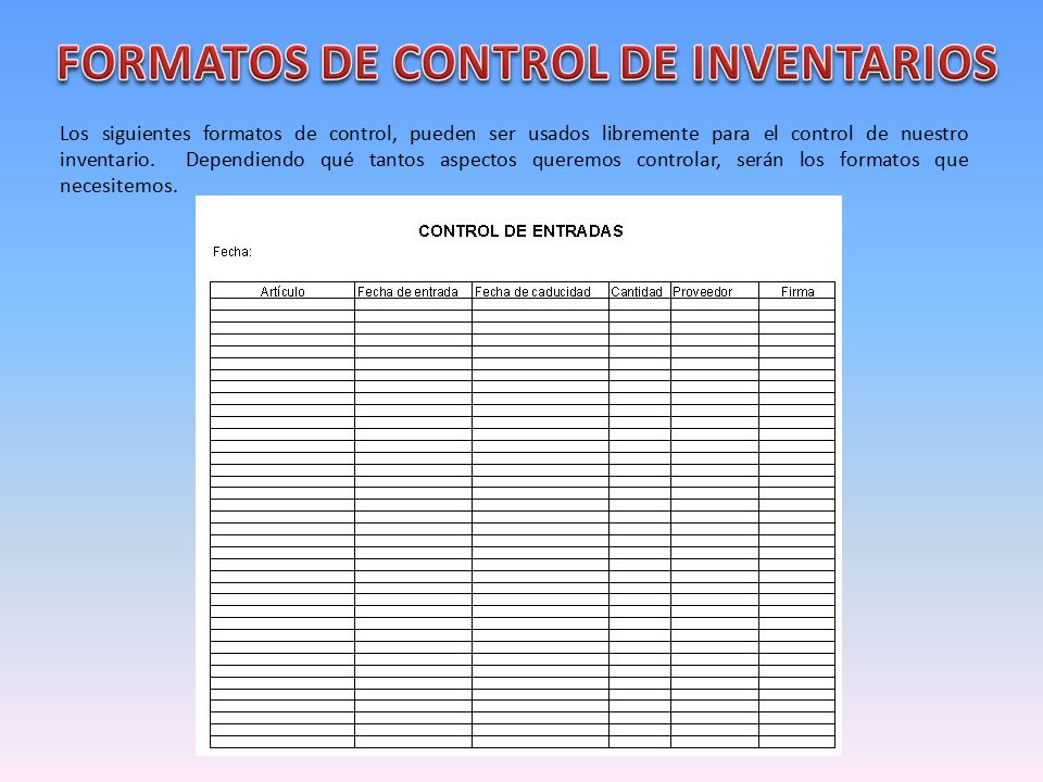 Control de inventario ppt descargar for Formatos y controles para restaurantes gratis