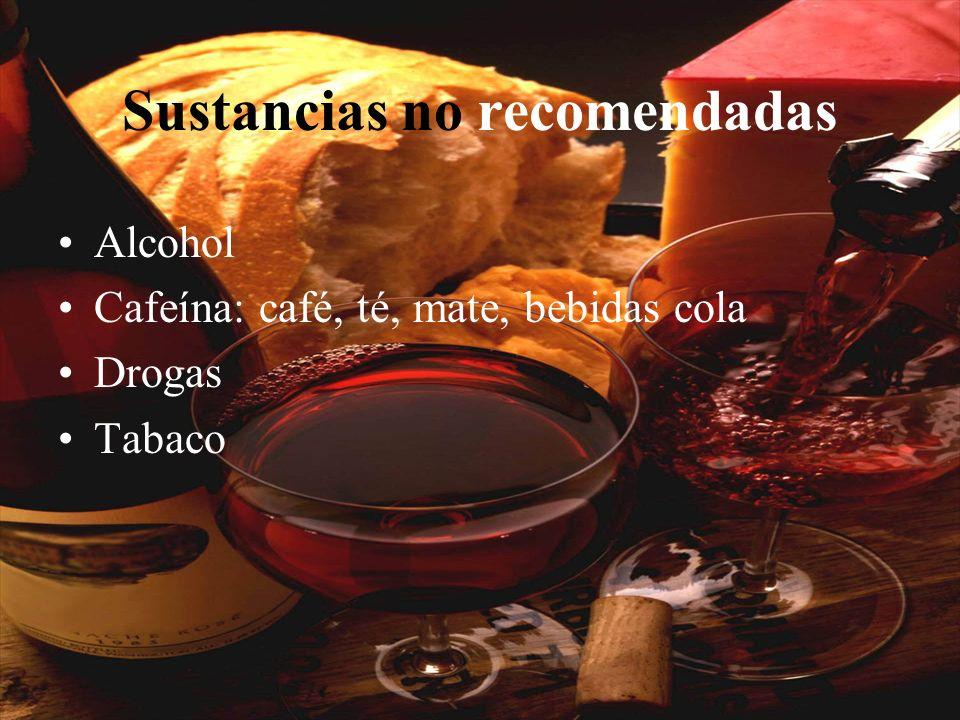 Sustancias no recomendadas