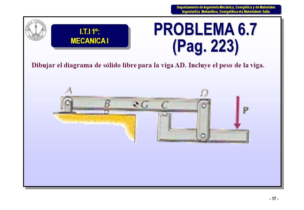 PROBLEMA 6.7 (Pag. 223) Dibujar el diagrama de sólido libre para la viga AD.
