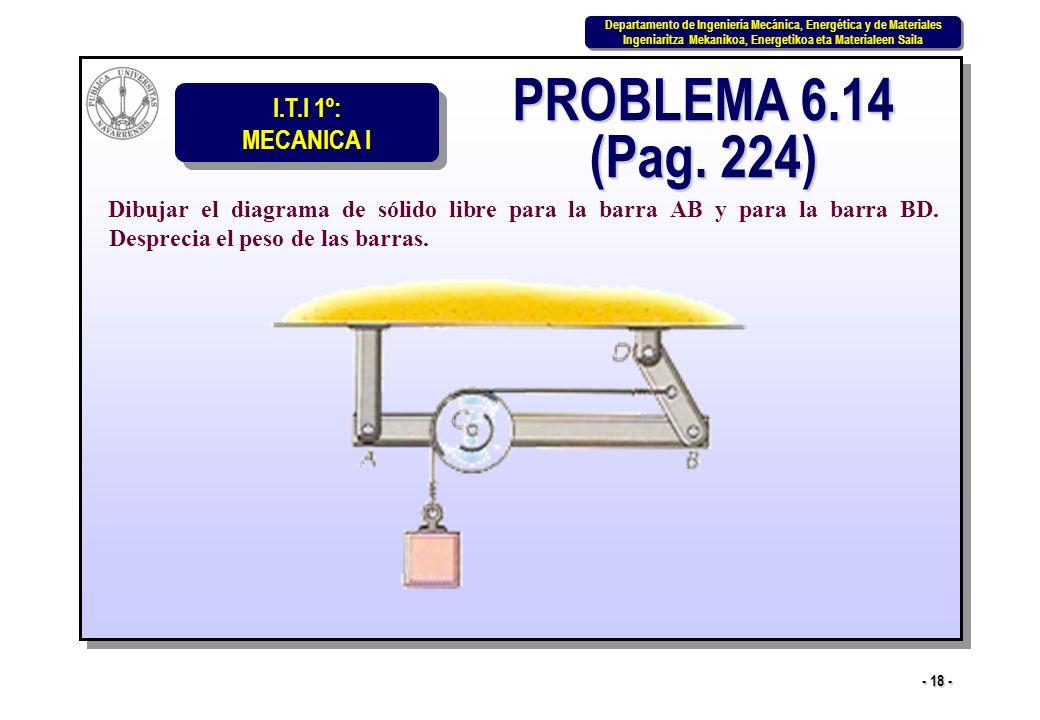PROBLEMA 6.14 (Pag. 224) Dibujar el diagrama de sólido libre para la barra AB y para la barra BD.