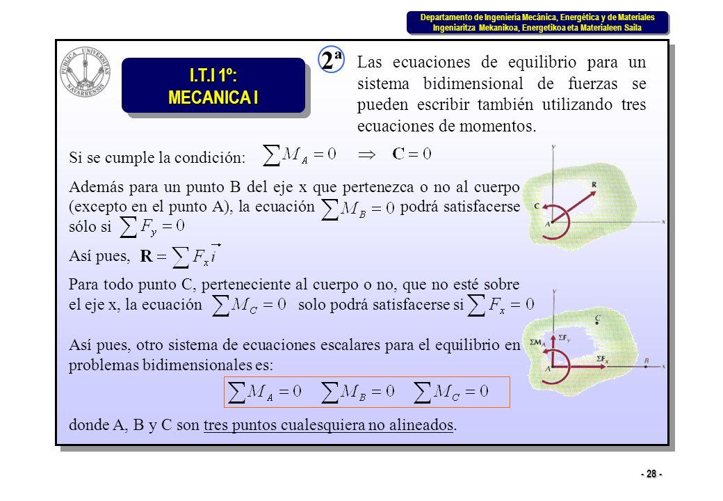 2ª Las ecuaciones de equilibrio para un sistema bidimensional de fuerzas se pueden escribir también utilizando tres ecuaciones de momentos.