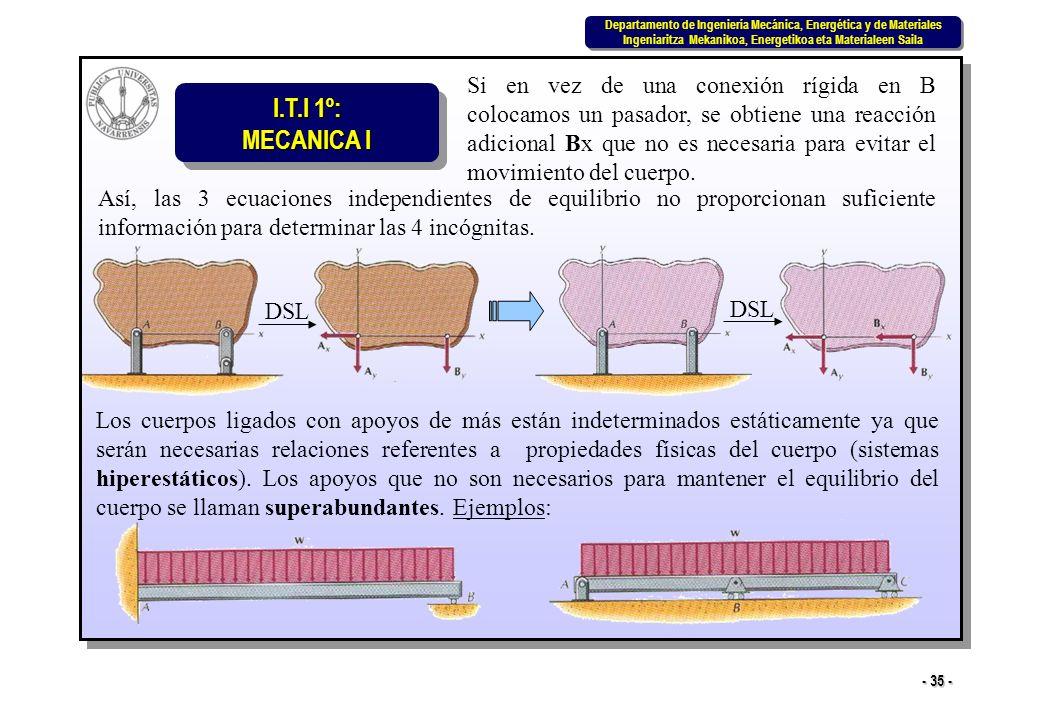 Si en vez de una conexión rígida en B colocamos un pasador, se obtiene una reacción adicional Bx que no es necesaria para evitar el movimiento del cuerpo.