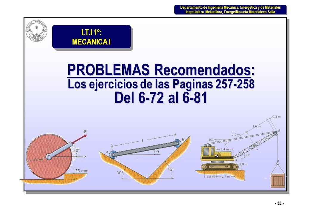 PROBLEMAS Recomendados: Los ejercicios de las Paginas 257-258 Del 6-72 al 6-81