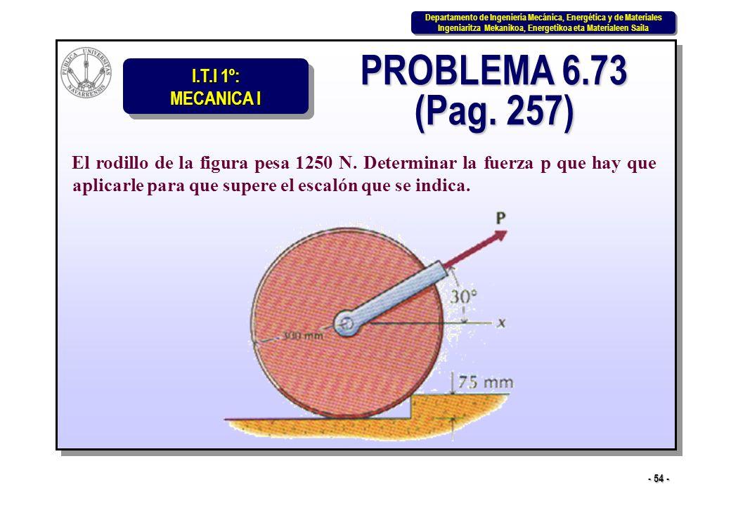 PROBLEMA 6.73 (Pag. 257) El rodillo de la figura pesa 1250 N.