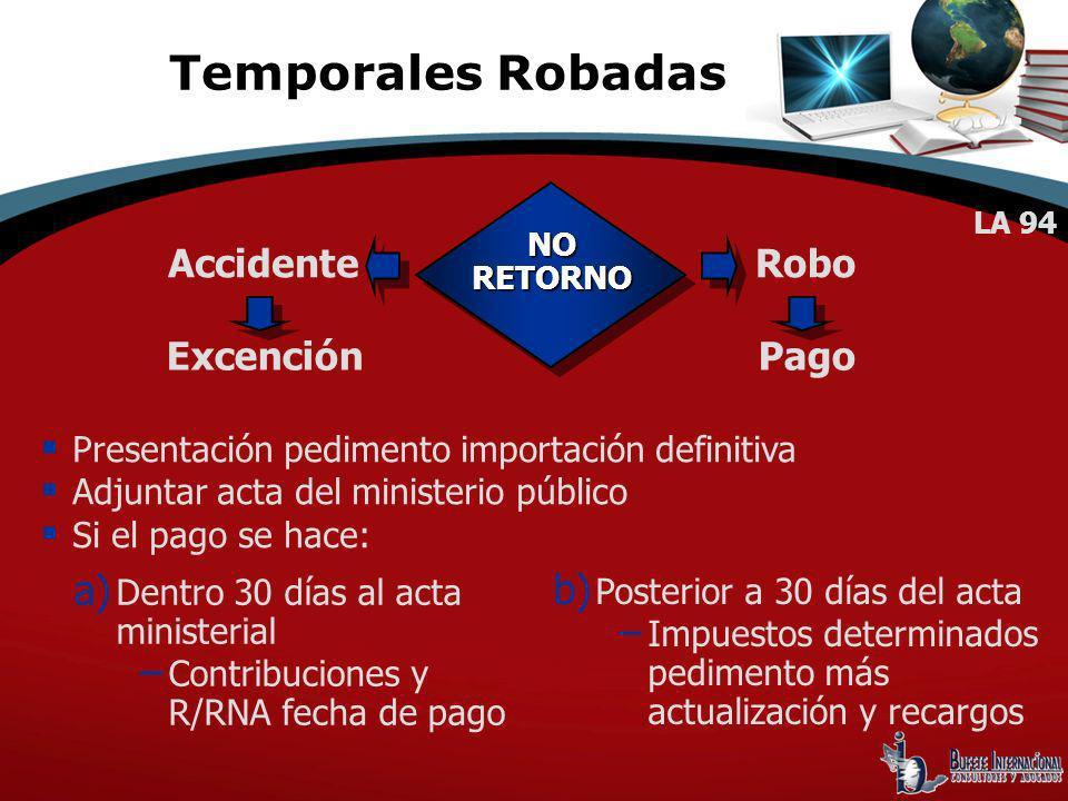 Temporales Robadas Accidente Robo Excención Pago