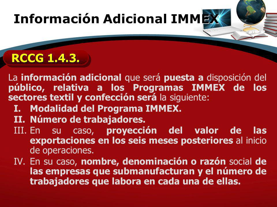 Información Adicional IMMEX