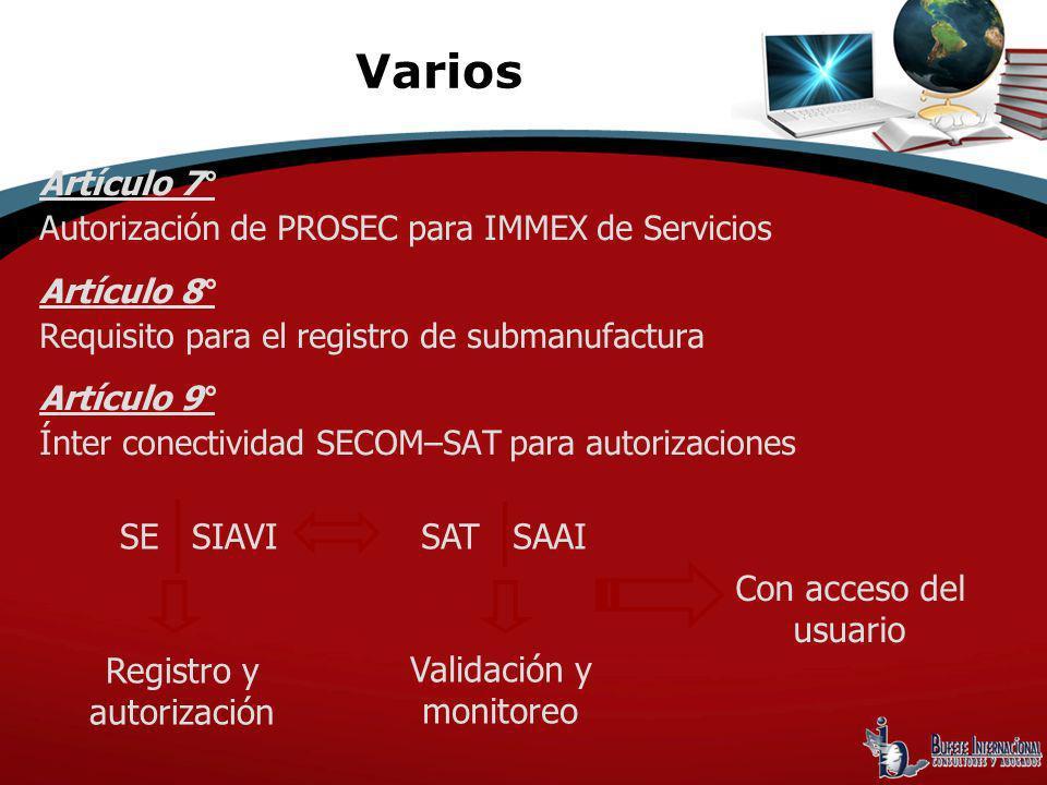 Varios SE SIAVI SAT SAAI Con acceso del usuario