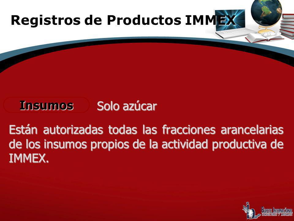 Registros de Productos IMMEX