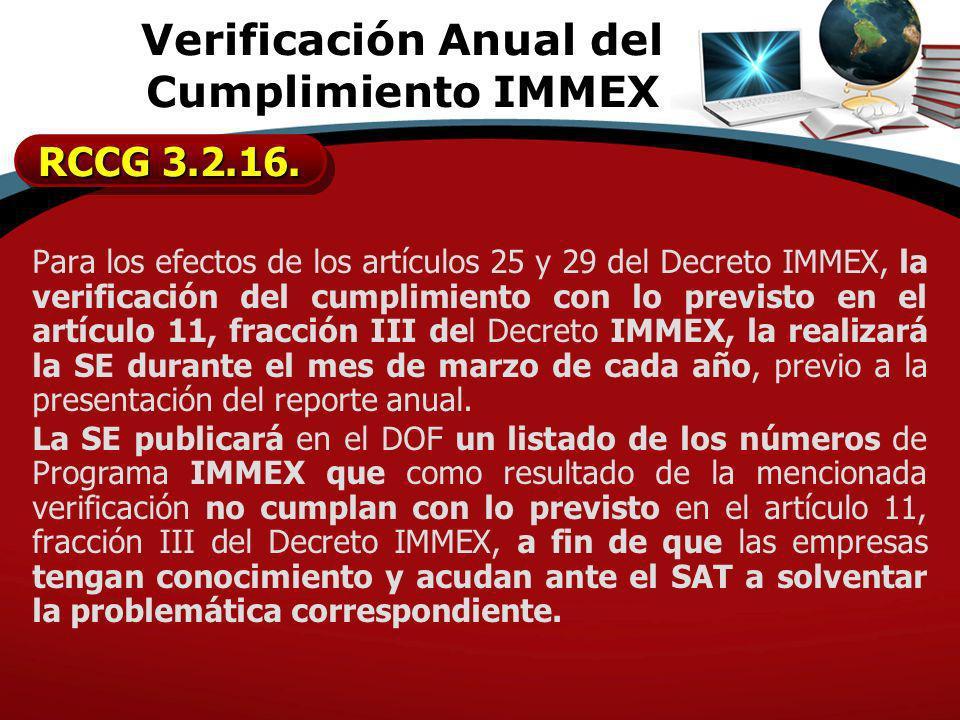 Verificación Anual del Cumplimiento IMMEX