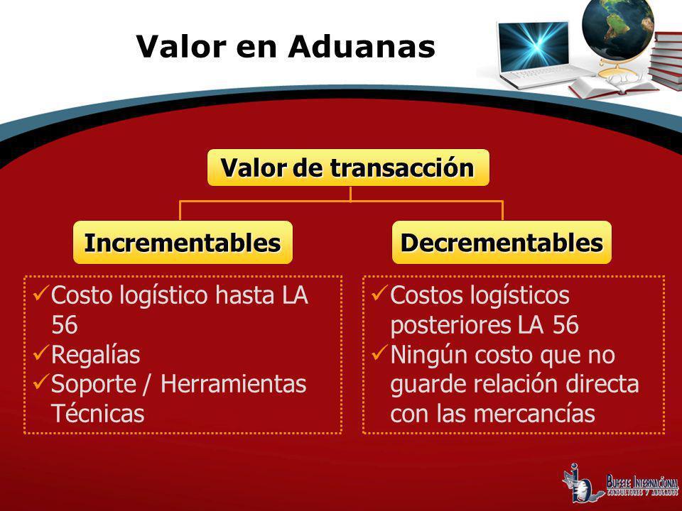 Valor en Aduanas Valor de transacción Incrementables Decrementables