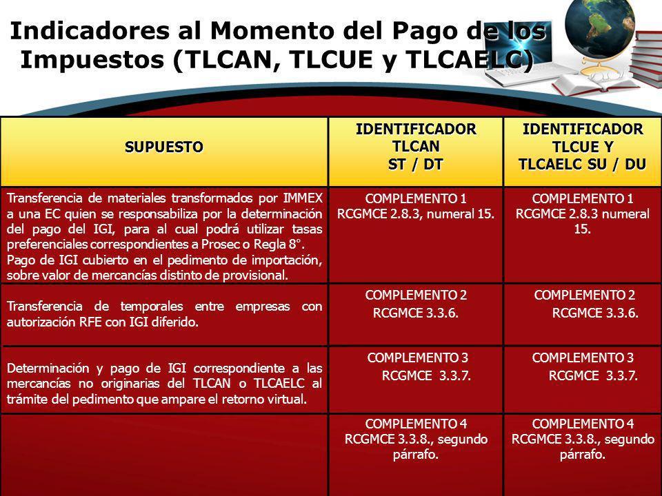 Indicadores al Momento del Pago de los Impuestos (TLCAN, TLCUE y TLCAELC)