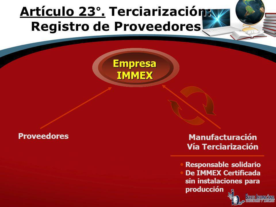 Artículo 23°. Terciarización: Registro de Proveedores