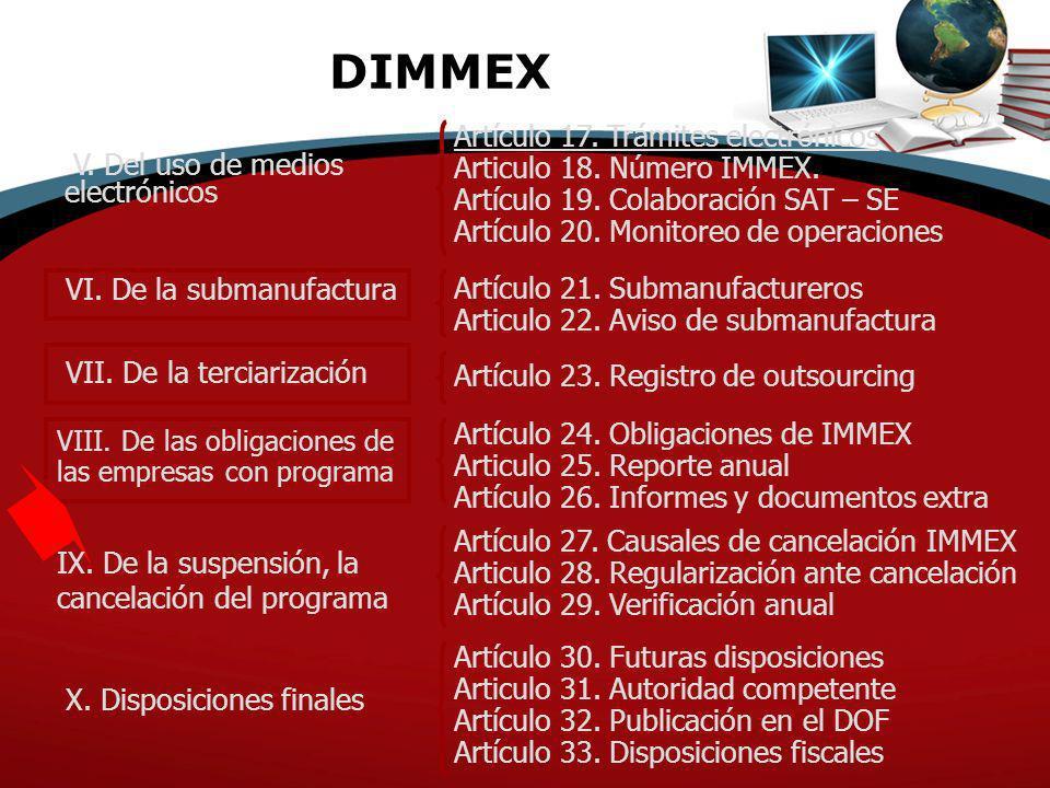 DIMMEX Artículo 17. Trámites electrónicos Articulo 18. Número IMMEX.
