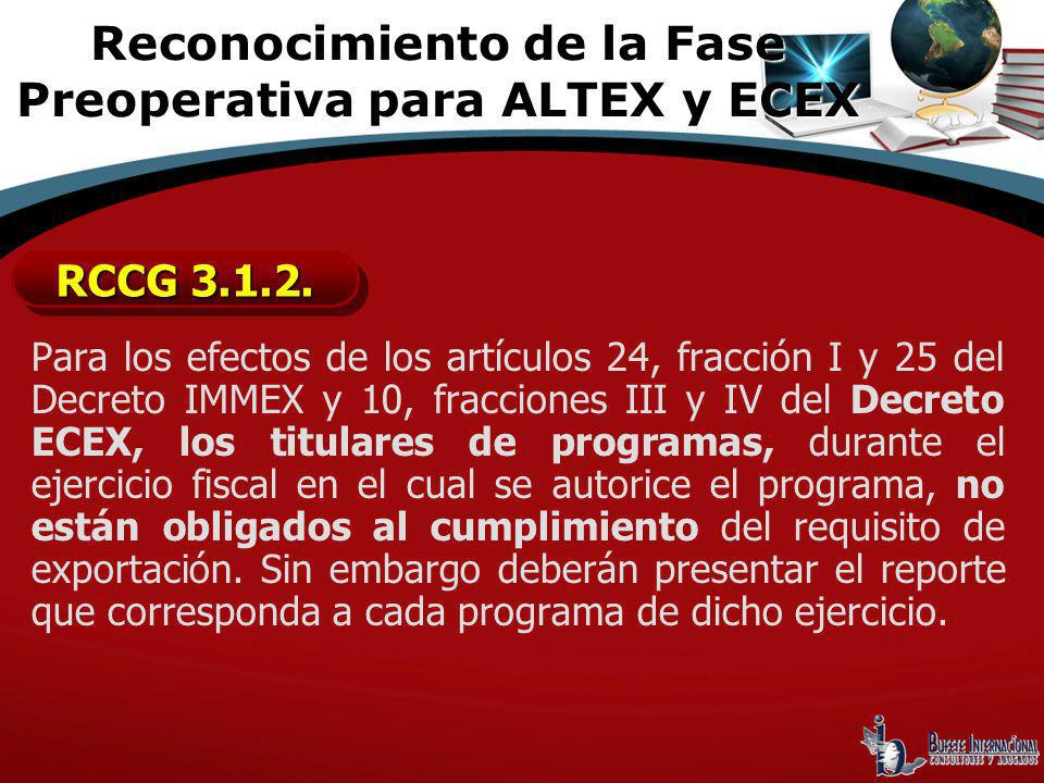 Reconocimiento de la Fase Preoperativa para ALTEX y ECEX