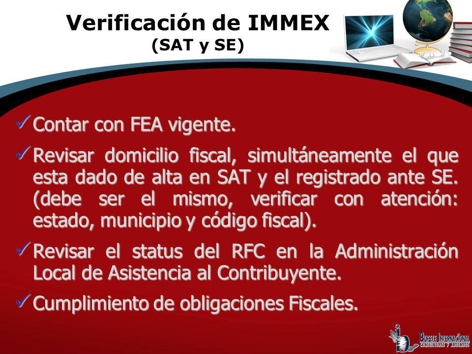 Verificación de IMMEX (SAT y SE)