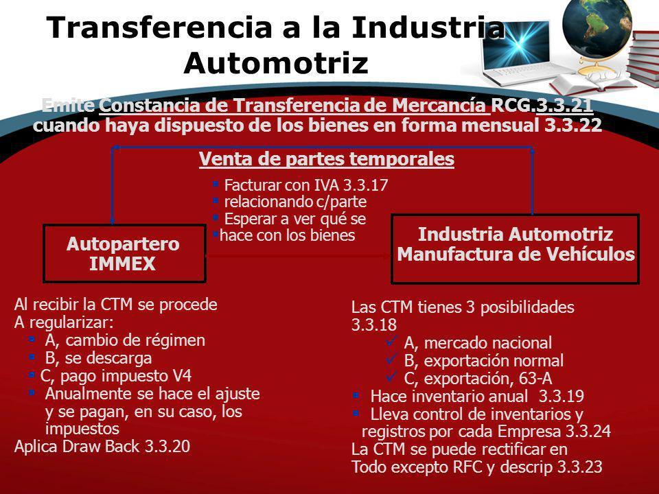 Transferencia a la Industria Automotriz