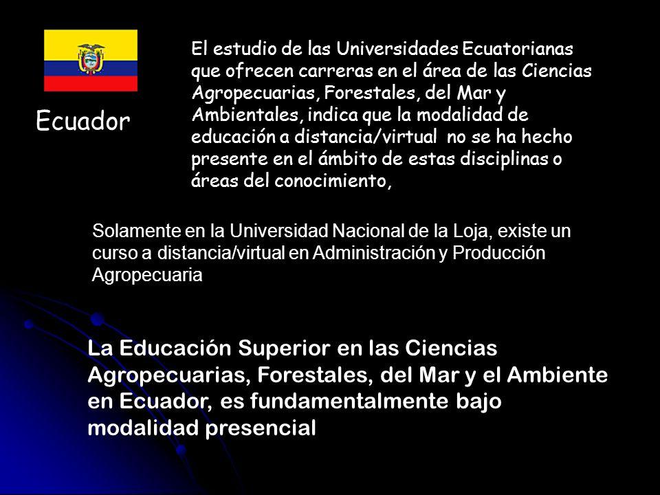 El estudio de las Universidades Ecuatorianas que ofrecen carreras en el área de las Ciencias Agropecuarias, Forestales, del Mar y Ambientales, indica que la modalidad de educación a distancia/virtual no se ha hecho presente en el ámbito de estas disciplinas o áreas del conocimiento,