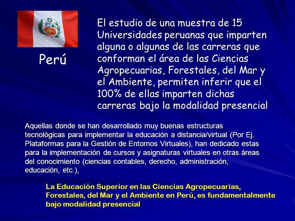 El estudio de una muestra de 15 Universidades peruanas que imparten alguna o algunas de las carreras que conforman el área de las Ciencias Agropecuarias, Forestales, del Mar y el Ambiente, permiten inferir que el 100% de ellas imparten dichas carreras bajo la modalidad presencial