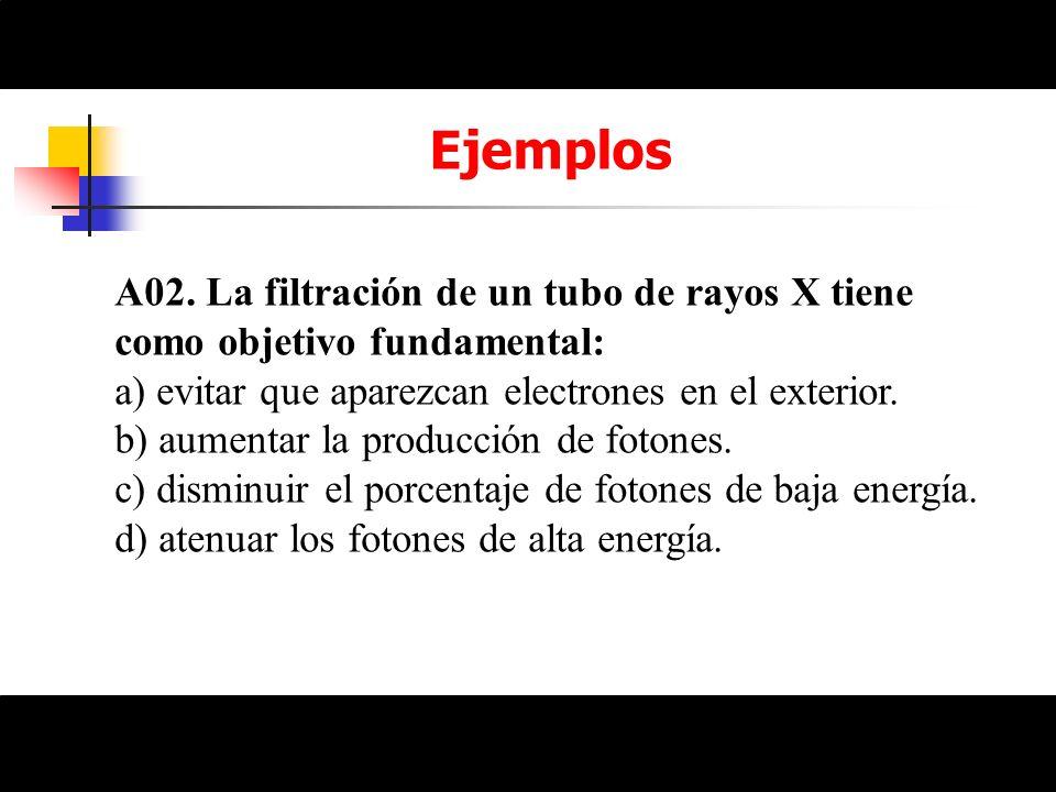 EjemplosA02. La filtración de un tubo de rayos X tiene como objetivo fundamental: a) evitar que aparezcan electrones en el exterior.